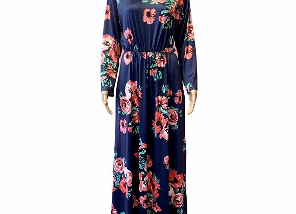 Blue Floral Maxi Dress - L