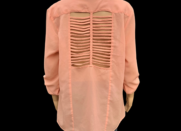 Peachy Pink Button Down - L