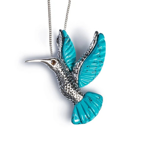 FLYING HUMMINGBIRD NECKLACE IN SILVER AND TURQUOISE