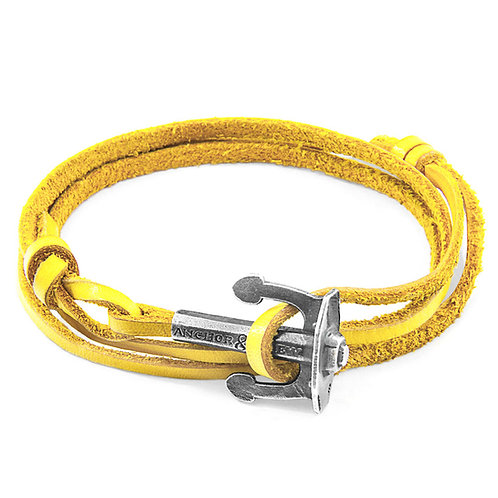 Anchor&Crew - Mustard Yellow Union Silver And Leather Bracelet