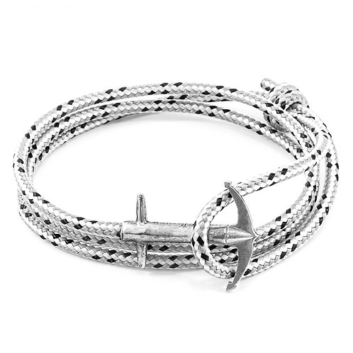 Anchor&Crew  - Grey Dash Admiral Silver And Rope Bracelet