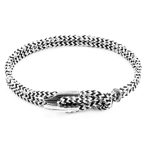 Anchor&Crew - White Noir Padstow Silver And Rope Bracelet