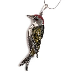 LARGE WOODPECKER BIRD NECKLACE IN SILVER, CORAL AND AMBER