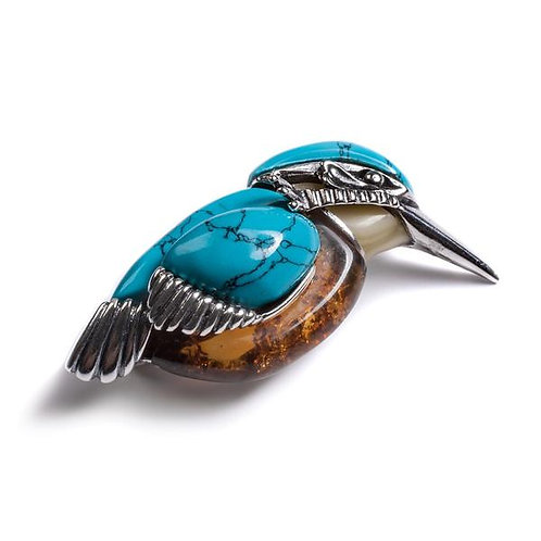 KINGFISHER BIRD BROOCH IN SILVER, TURQUOISE AND AMBER
