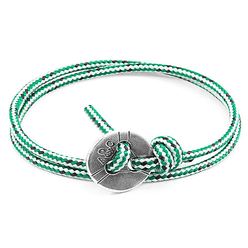 Anchor&Crew - Green Dash Lerwick Silver And Rope Bracelet