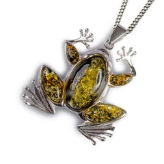 FROG NECKLACE IN SILVER AND GREEN AMBER