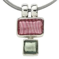 Gabriella Nanni Sterling Silver Rectangular Square Rubino/Grigio