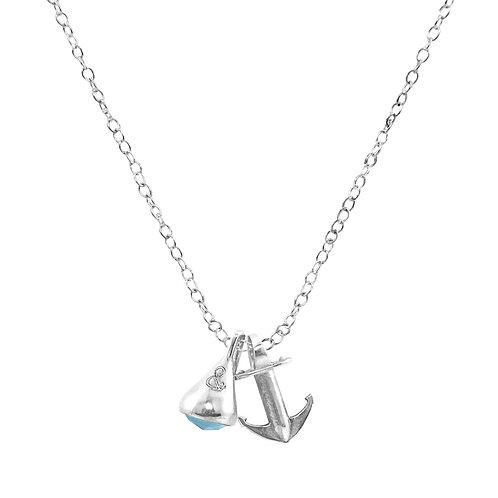 Anchor&Crew - Grey Labradorite Nun Buoy Silver And Stone Necklace Pendant