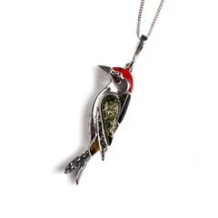 SMALL WOODPECKER BIRD NECKLACE IN SILVER, CORAL AND AMBER