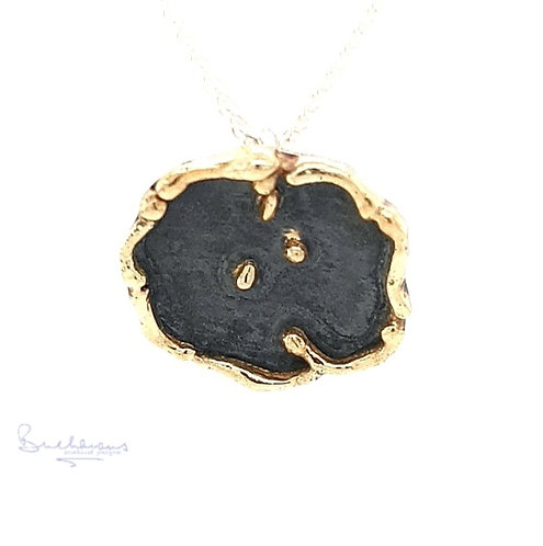 Leucothea 9ct Gold and Sterling Silver Oxidised Circle Pendant