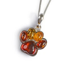 LARGE PAW PRINT NECKLACE IN SILVER AND AMBER