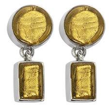 Gabriella Nanni Sterling Silver Round Rectangular Earring Oro