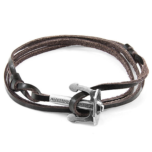 Anchor&Crew - Dark Brown Union Silver And Leather Bracelet