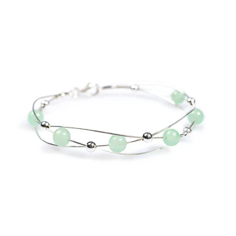 WEAVED BANGLE IN SILVER AND AVENTURINE
