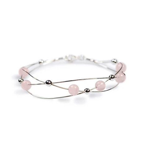 WEAVED BANGLE IN SILVER AND ROSE/PINK QUARTZ