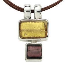 Gabriella Nanni Sterling Silver Rectangular Square Oro/Melanzana