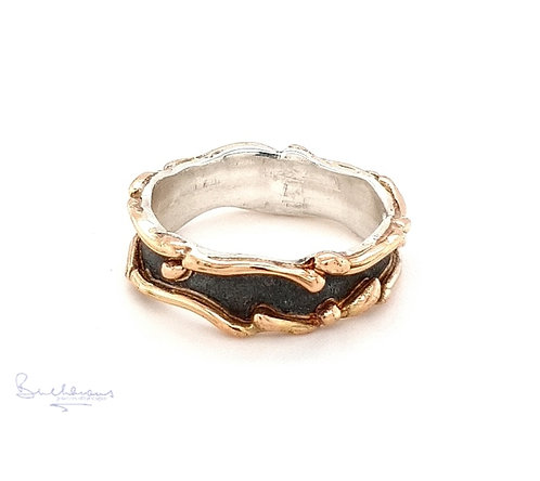 Leucothea 9ct Gold and Sterling Silver Oxidised Band Ring