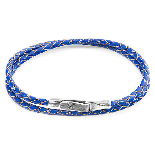 Anchor&Crew - Royal Blue Liverpool Silver And Leather Bracelet