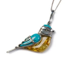 BLUE TIT BIRD NECKLACE IN SILVER, TURQUOISE AND AMBER