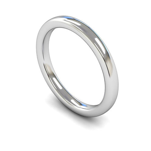 18ct White Gold 2.5MM Slight Court Heavyweight