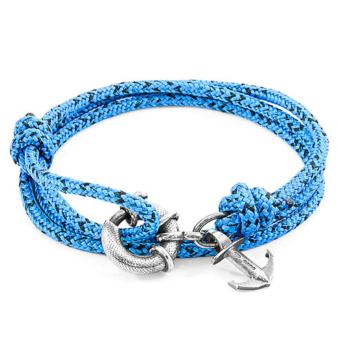 Anchor&Crew - Blue Noir Clyde Silver And Rope Bracelet
