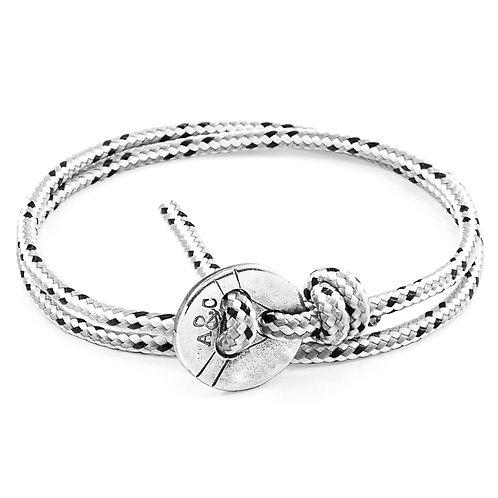 Anchor&Crew - Grey Dash Lerwick Silver And Rope Bracelet