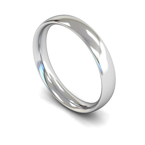 9ct White Gold 4mm Traditional Court Medium
