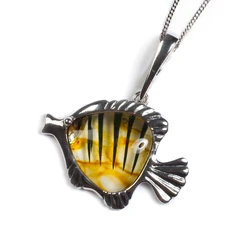 ANGELFISH NECKLACE IN SILVER AND AMBER