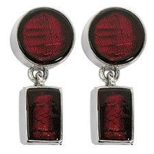 Gabriella Nanni Sterling Silver Round Rectangular Earring Rosso