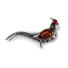 PHEASANT BIRD BROOCH IN SILVER, CORAL AND AMBER