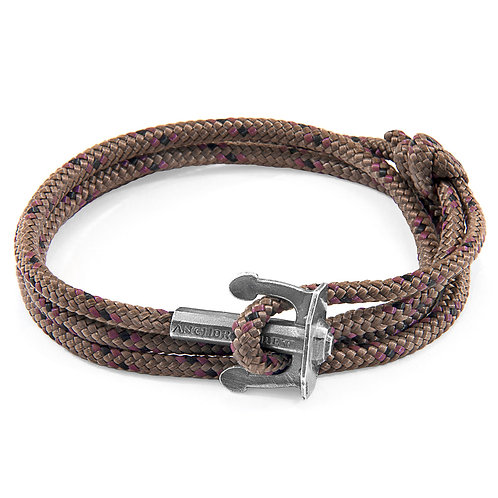 Anchor&Crew - Brown Union Silver And Rope Bracelet