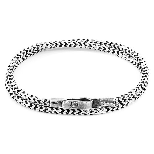 Anchor&Crew - White Noir Liverpool Silver And Rope Bracelet