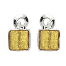 Gabriella Nanni Sterling Silver Square Swirl Earring Oro
