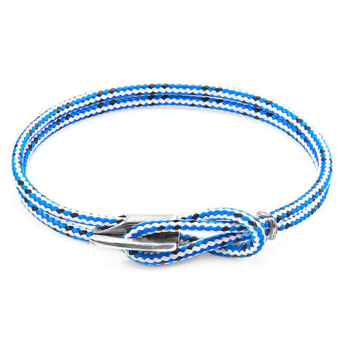 Anchor&Crew - Blue Dash Padstow Silver And Rope Bracelet