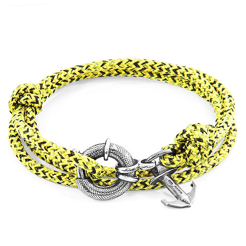 Anchor&Crew - Yellow Noir Clyde Silver And Rope Bracelet