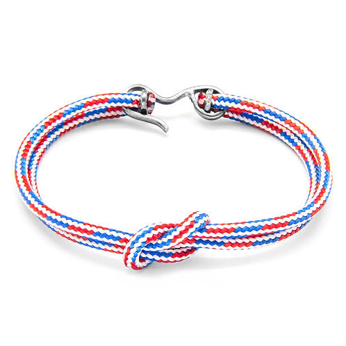 Anchor&Crew - Project RWB - Red White And Blue Foyle Silver And Rope Bracelet