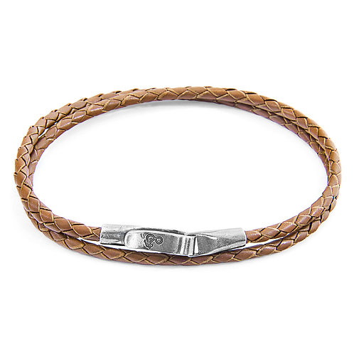 Anchor&Crew - Light Brown Liverpool Silver And Leather Bracelet