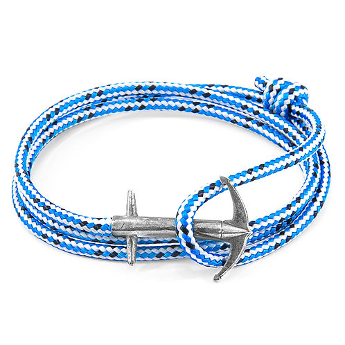 Anchor&Crew - Blue Dash Admiral Silver And Rope Bracelet
