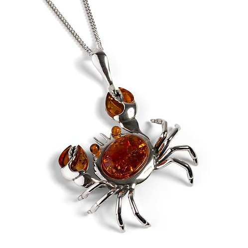 CRAB NECKLACE IN SILVER AND AMBER