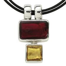 Gabriella Nanni Sterling Silver Rectangular Square Rosso/Oro