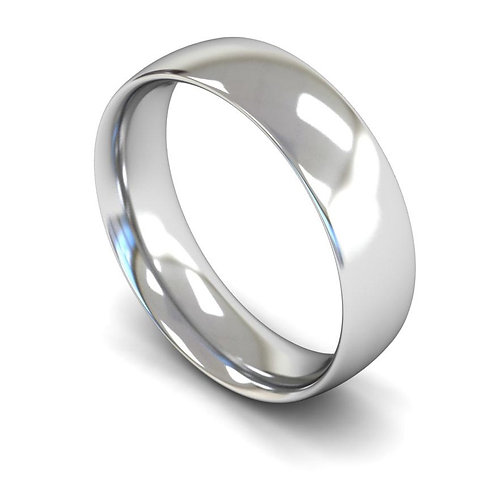 9ct White Gold 6mm Traditional Court Medium