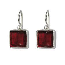 Gabriella Nanni Sterling Silver Square Earring Rosso