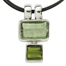 Gabriella Nanni Sterling Silver Rectangular Square Grigio/Verde
