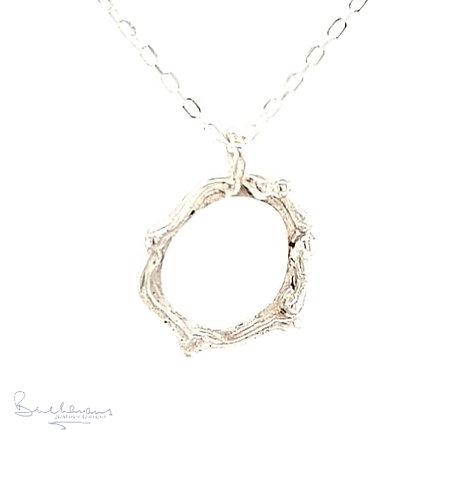 Leucothea Sterling Silver Circle Pendant on Silver Chain