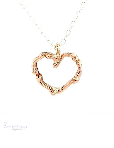 Leucothea 9ct Rose Gold Heart Pendant and silver Chain