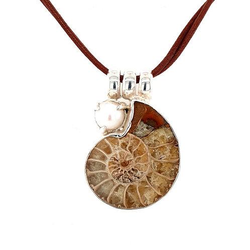 Gabriella Nanni Storie di Mare Ammonite and Pearl Pendant