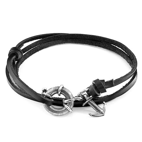Anchor&Crew - Coal Black Clyde Silver And Leather Bracelet