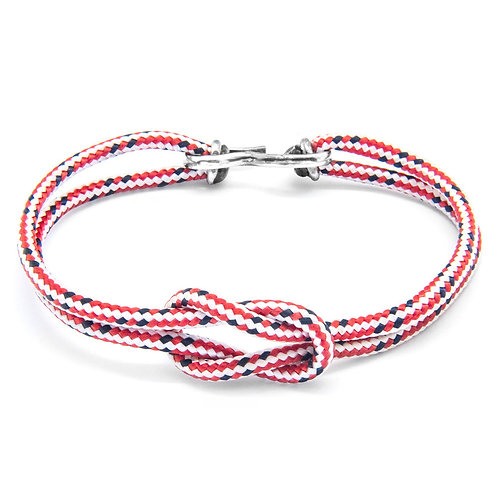 Anchor&Crew - Red Dash Foyle Silver And Rope Bracelet