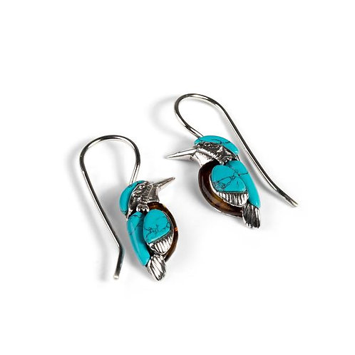 KINGFISHER BIRD HOOK EARRINGS IN SILVER, TURQUOISE AND AMBER