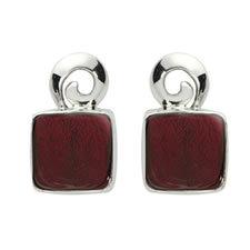 Gabriella Nanni Sterling Silver Square Swirl Earring Rosso